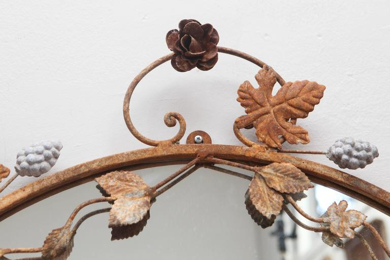 American Flower and Leaves Rusted Metal Mirror For Sale