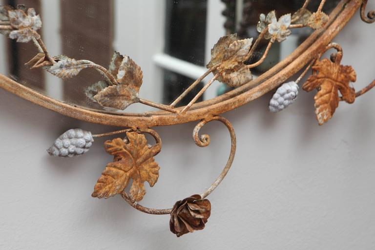Flower and Leaves Rusted Metal Mirror In Good Condition For Sale In Los Angeles, CA