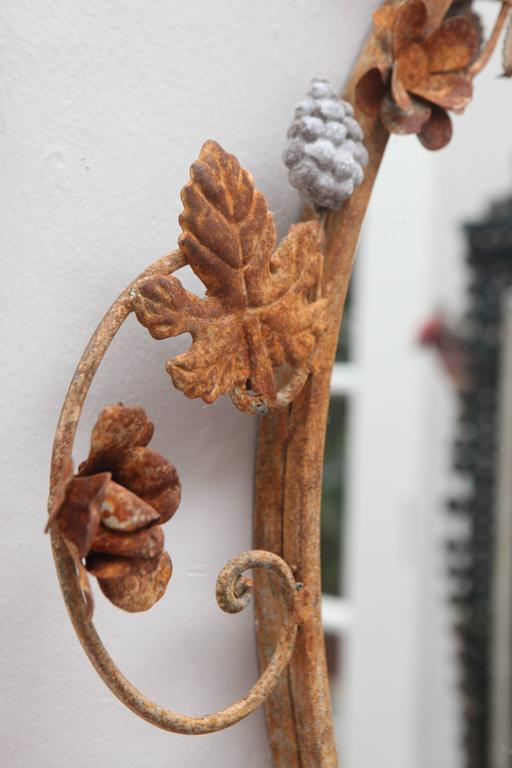 Flower and Leaves Rusted Metal Mirror For Sale 2