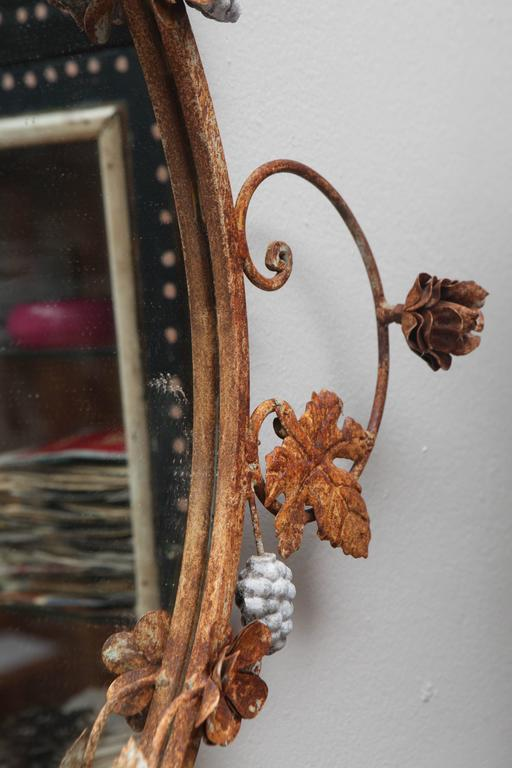 Flower and Leaves Rusted Metal Mirror For Sale 3