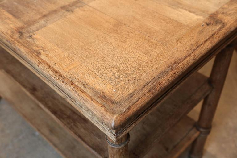 19th Century Three-Tiered Serving Table or Kitchen Island in Bleached Oak 3