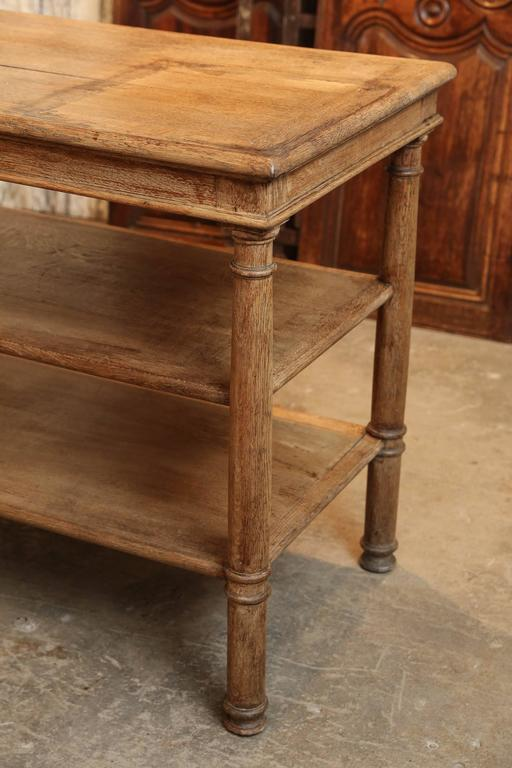 19th Century Three Tiered Serving Table Or Kitchen Island In Bleached Oak At 1stdibs