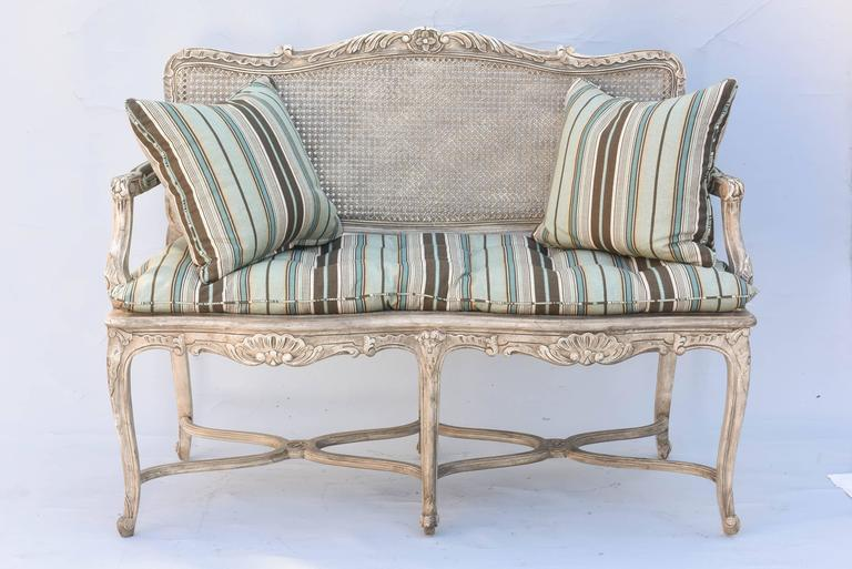 Painted Regence Style Caned Settee For Sale at 1stdibs