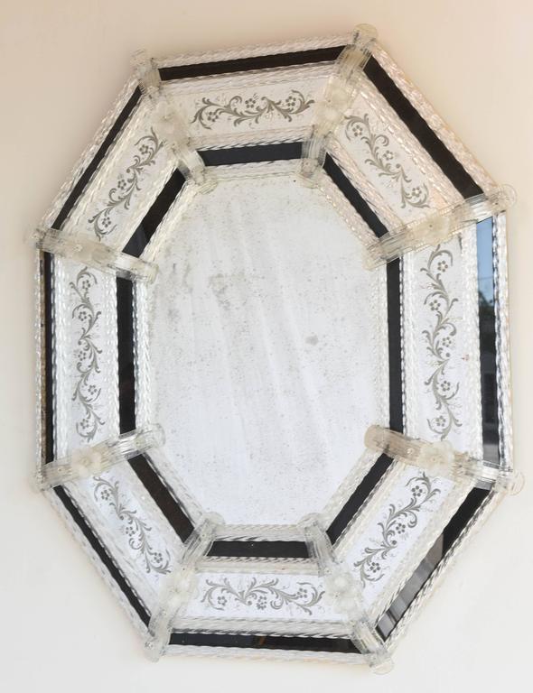 Pair of octagonal venetian mirrors inset with black glass for Black venetian mirror