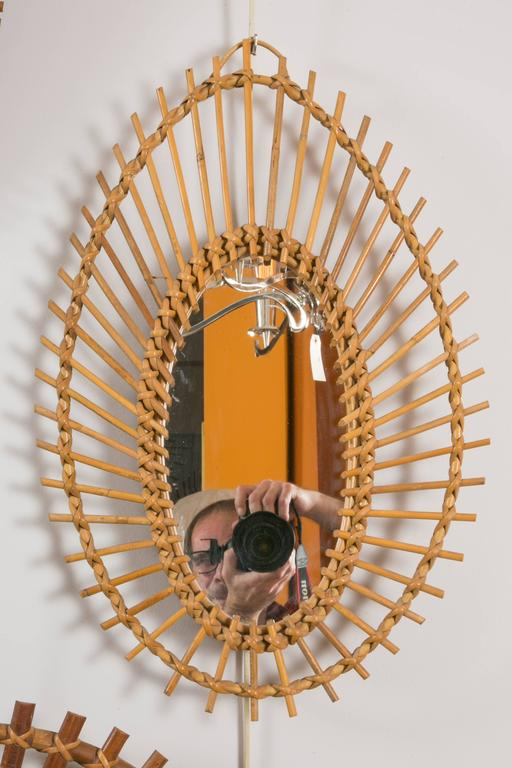 Collection Of 8 Rattan Or Wicker Sunburst Mirrors At 1stdibs