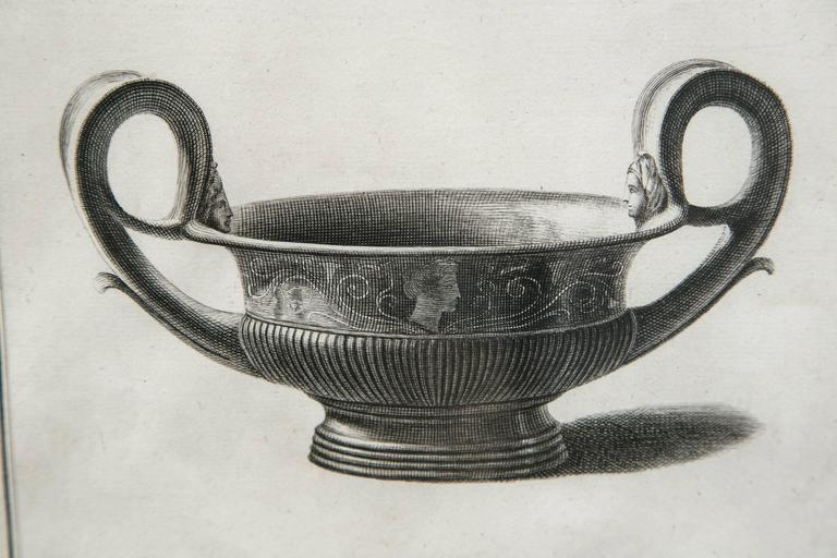 Framed etching, neoclassical vessel, 19th century. Custom silver leaf frame and mat.