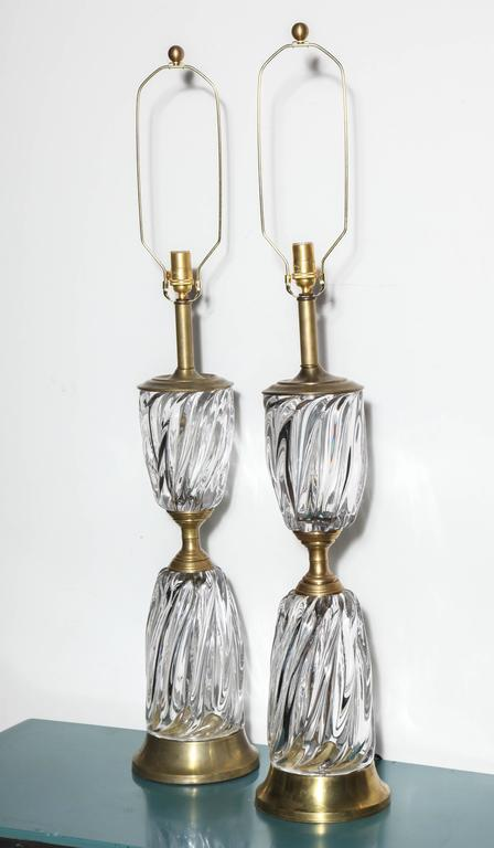 Monumental Pair of Marbro Lamp Co. Clear Murano Art Glass Rope Twist Table Lamps For Sale 4