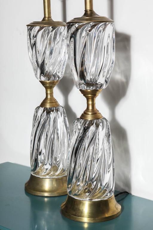 Italian Monumental Pair of Marbro Lamp Co. Clear Murano Art Glass Rope Twist Table Lamps For Sale