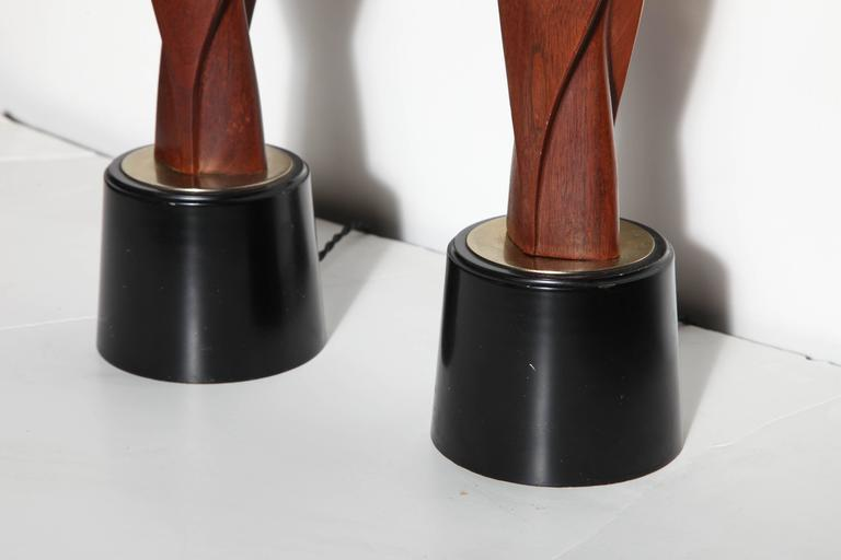 Tall Pair Laurel Lamp Co. Walnut & Black Enamel Biomorphic Table Lamps For Sale 1