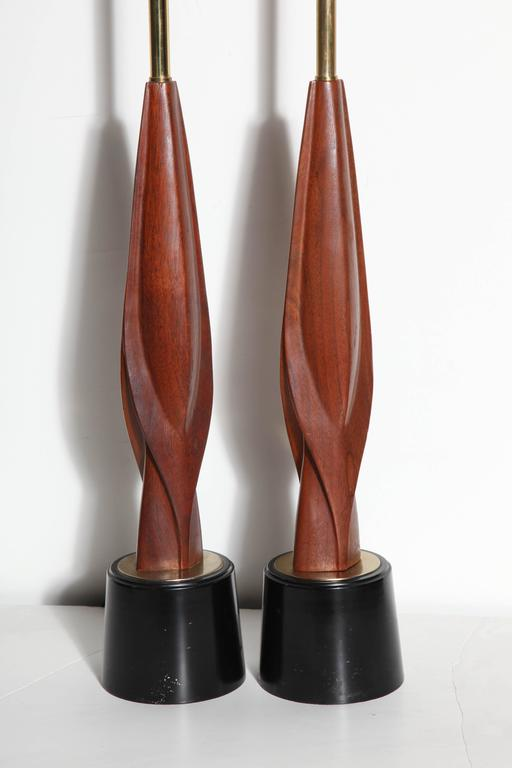 Plated Tall Pair Laurel Lamp Co. Walnut & Black Enamel Biomorphic Table Lamps For Sale