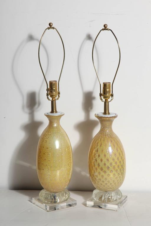 Brass Pair of Yellow & White Murano Glass Table Lamps with Silver inclusions, 1950s  For Sale