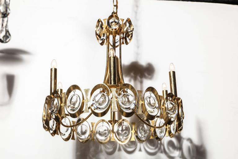 Mid-Century Modern Palwa Germany Gilt Brass and Austrian Crystal Candlestick Chandelier, 1960s  For Sale