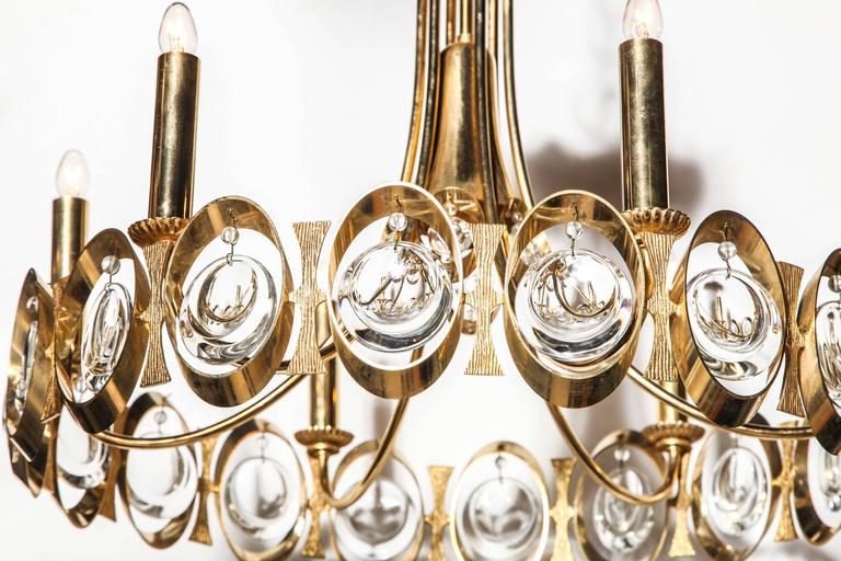 Palwa Germany Gilt Brass and Austrian Crystal Candlestick Chandelier, 1960s  In Good Condition For Sale In Bainbridge, NY
