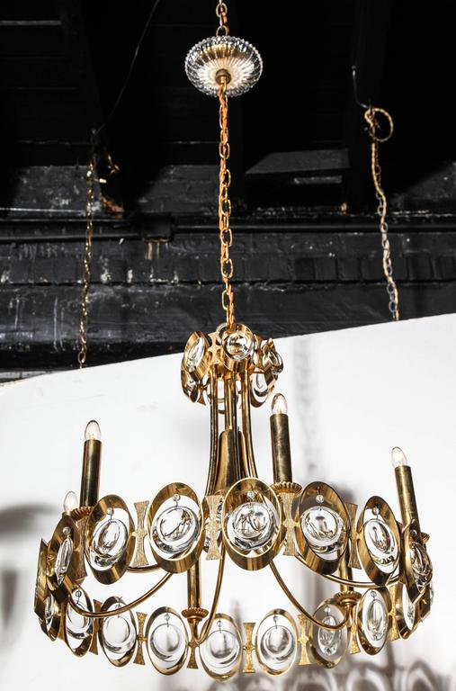 Palwa Germany Gilt Brass and Austrian Crystal Candlestick Chandelier, 1960s  For Sale 2