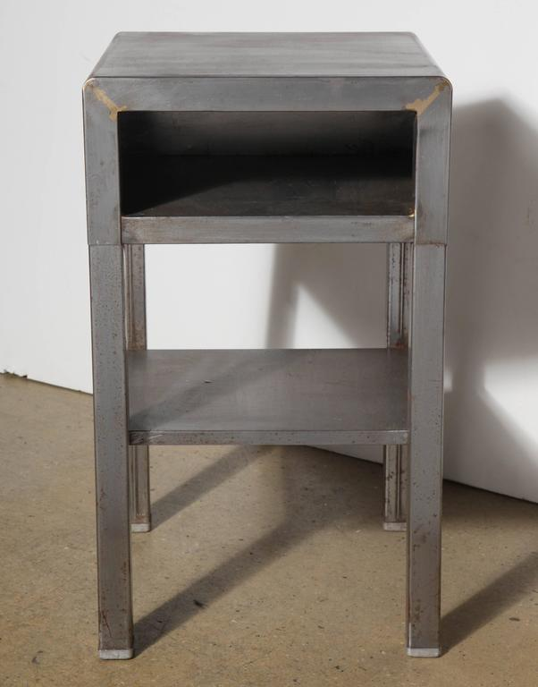 vintage industrial simmons metal side table. Art Deco Norman Bel Geddes Steel End Table Or Side With Storage. Featuring An Vintage Industrial Simmons Metal