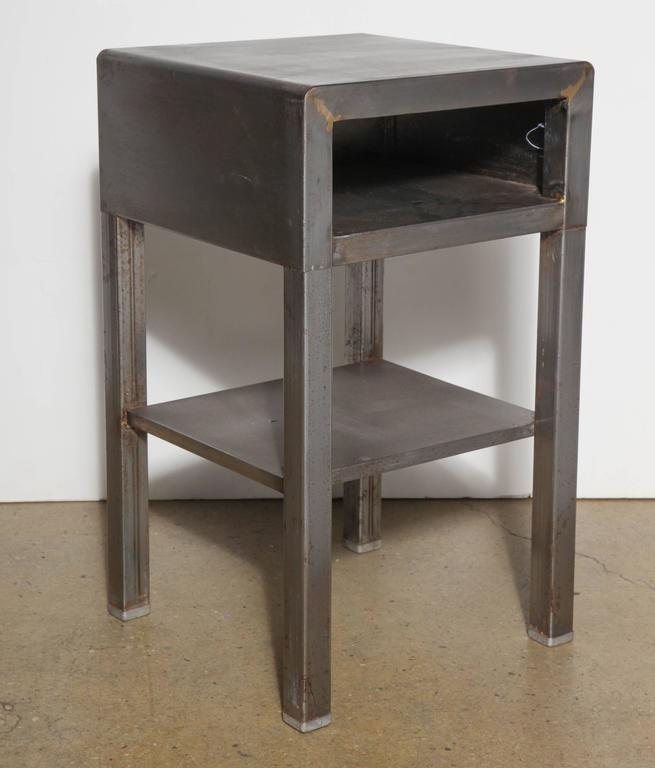 Steel Art Deco circa 1930 Nightstands Bedside End Tables by Bel Geddes Pair