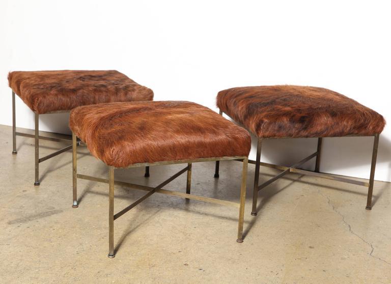 1950's Set of Three Paul McCobb for Directional Model 1306 Brass Ottomans 2