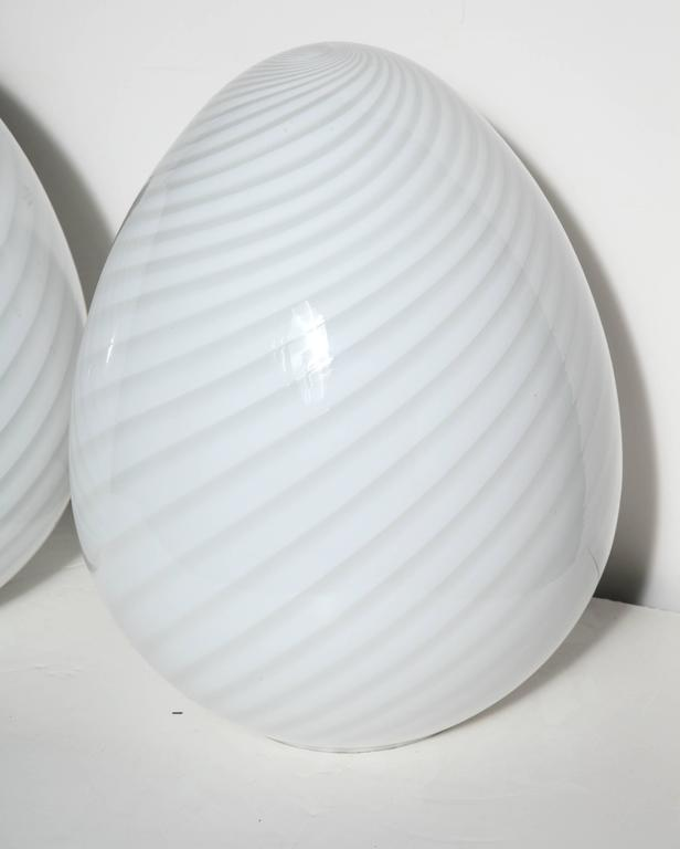 Modern Pair of Itri Vetri Murano Hand Blown Swirl White Art Glass