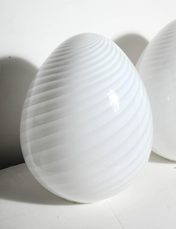 Pair of Itri Vetri Murano Hand Blown Swirl White Art Glass