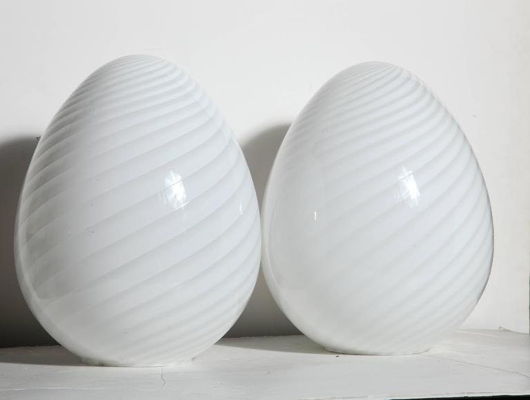 Late 20th Century Pair of Itri Vetri Murano Hand Blown Swirl White Art Glass