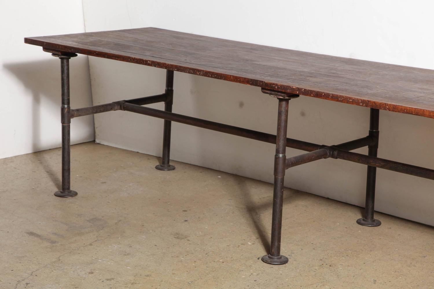19th century 10 39 foot long solid black walnut industrial for 10ft dining table