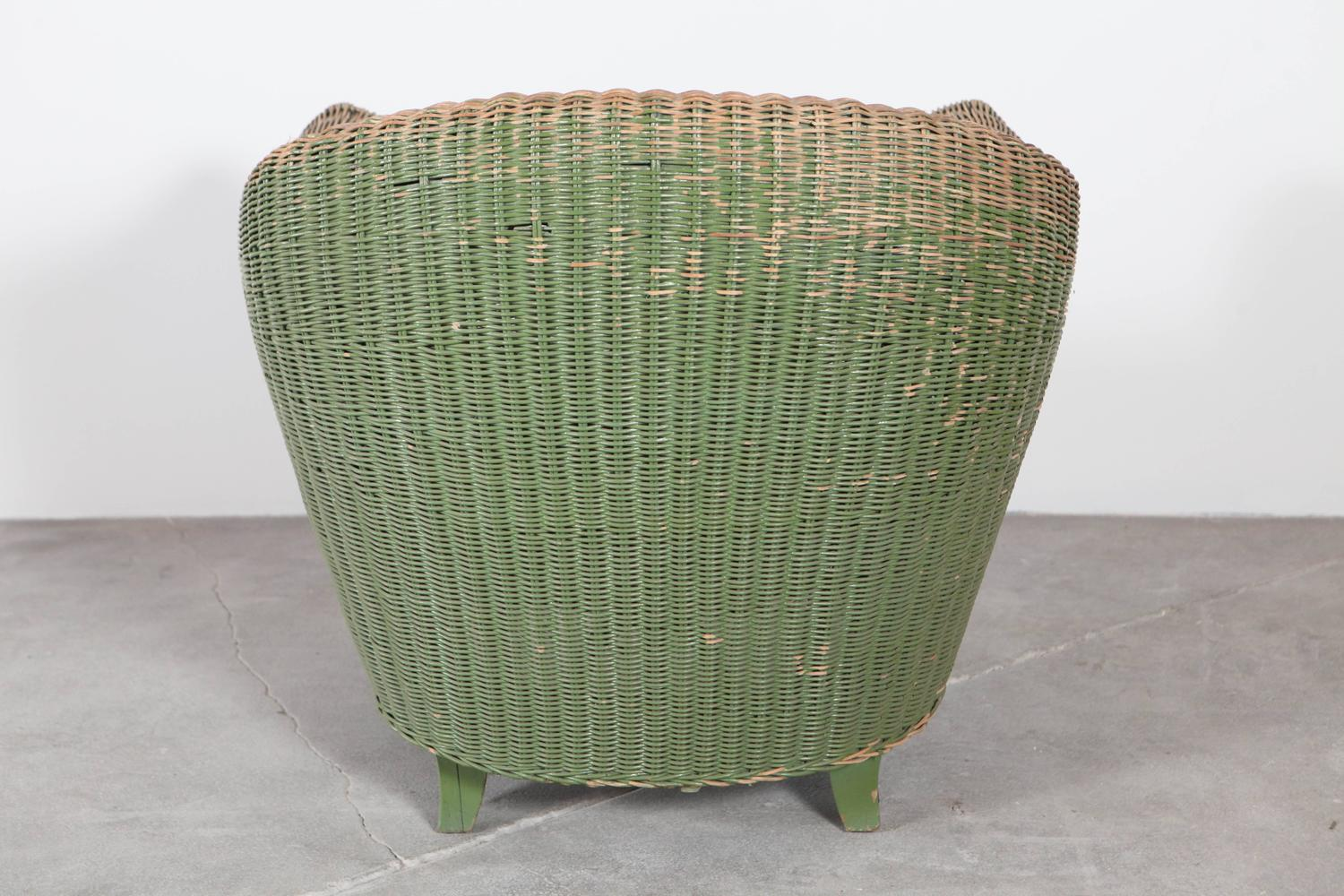 Pair Of Italian Wicker Green Outdoor Garden Chairs At 1stdibs