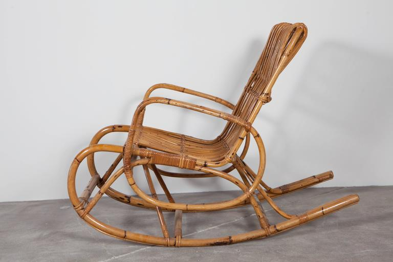 Vintage Italian Bamboo Rocking Chair with Square Arms 3