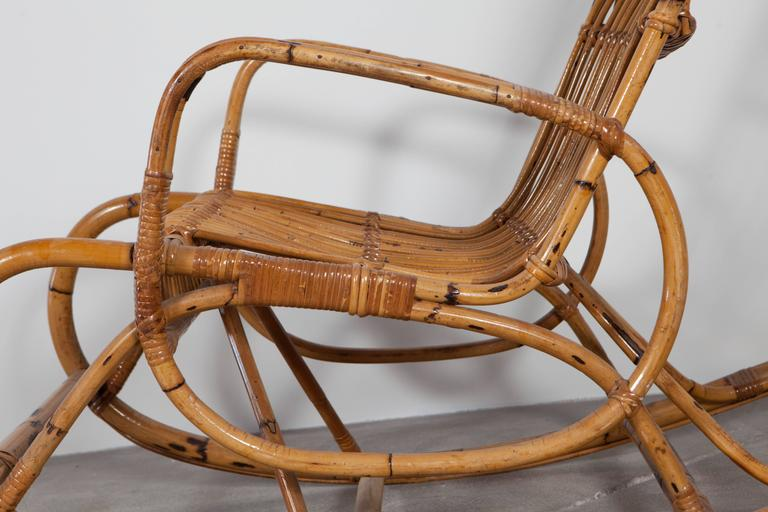 Vintage Italian Bamboo Rocking Chair with Square Arms 5