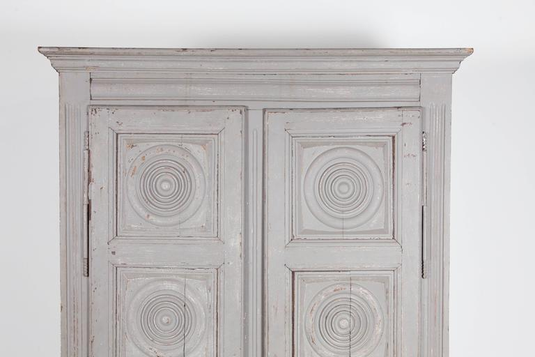 French Grey Wash Wardrobe Armoire With Ornamental Carved