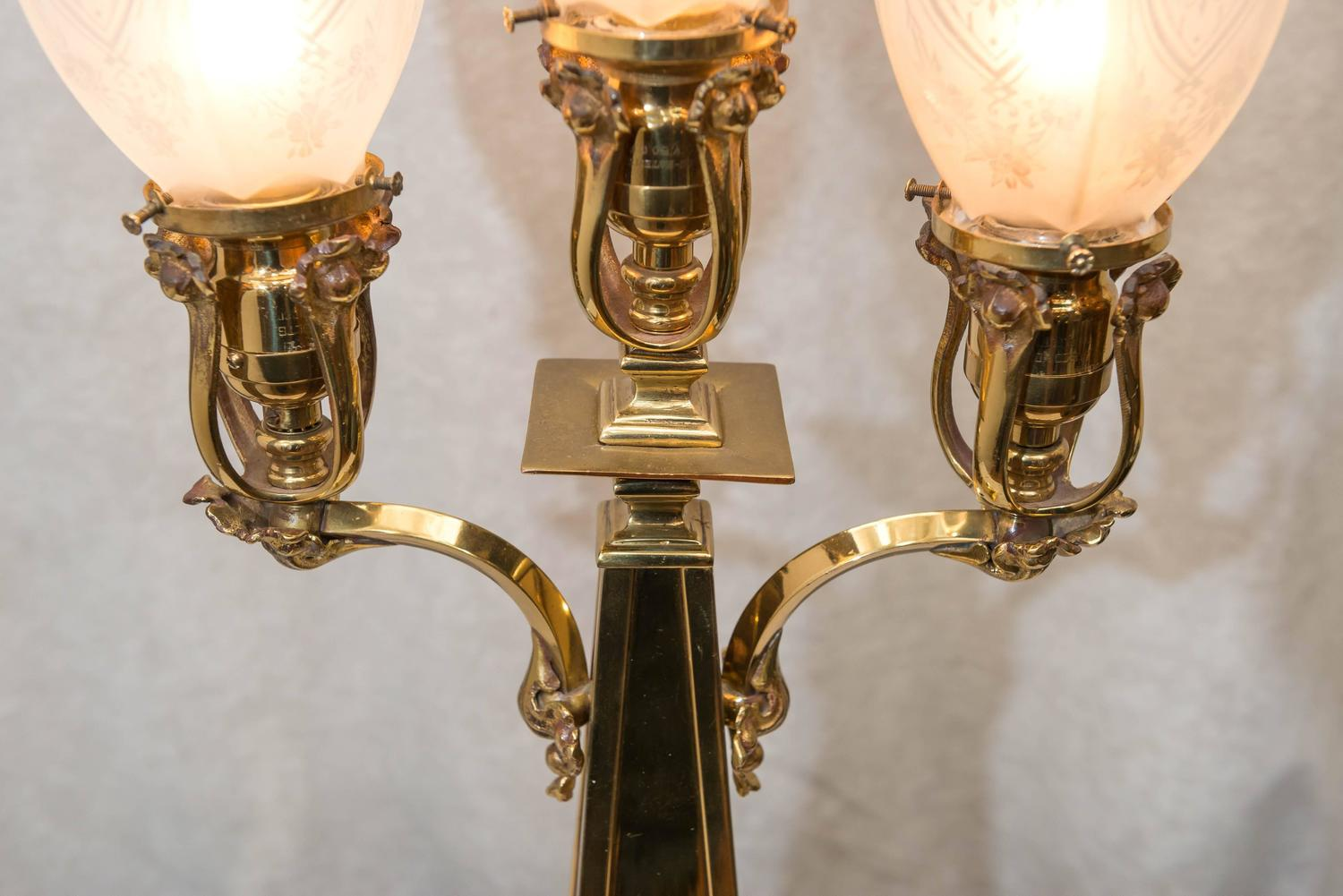 late victorian three arm table lamp for sale at 1stdibs. Black Bedroom Furniture Sets. Home Design Ideas