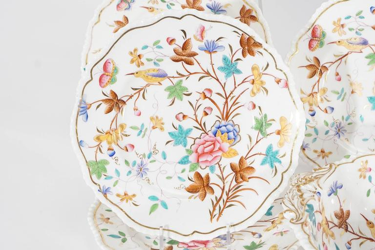 Japonisme 19th Century Dessert Service for 12 with Polychrome Enamel Exotic Birds For Sale