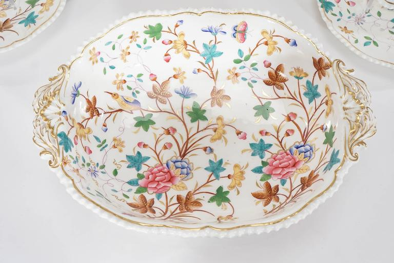 Mid-19th Century 19th Century Dessert Service for 12 with Polychrome Enamel Exotic Birds For Sale