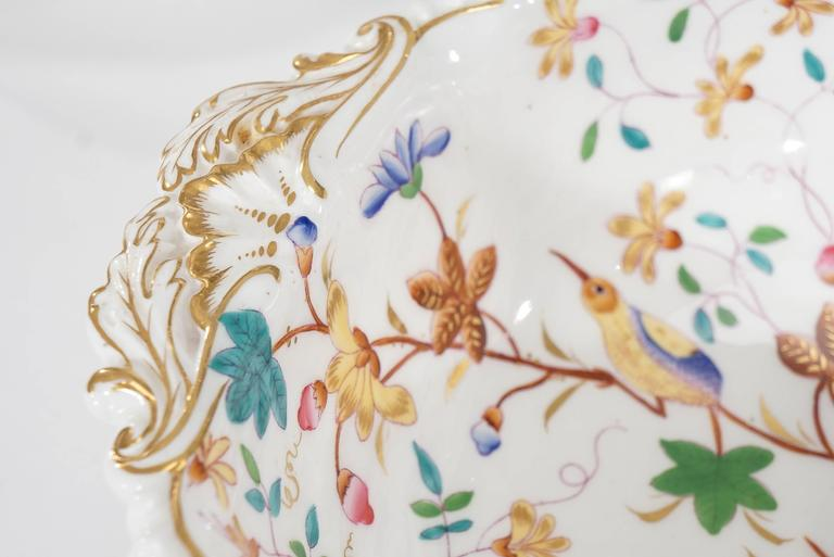19th Century Dessert Service for 12 with Polychrome Enamel Exotic Birds For Sale 1