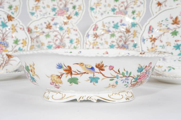 19th Century Dessert Service for 12 with Polychrome Enamel Exotic Birds For Sale 3