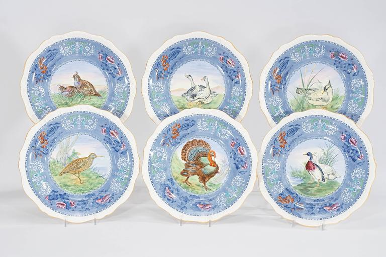 Set of 12 Copeland Spode Game Bird Dinner Plates with White Borders ...