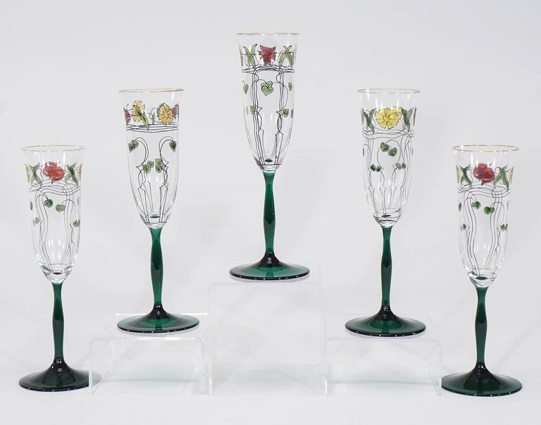 ten crystal arts and crafts champagne flutes with transparent enamel