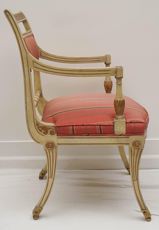 Hollywood Regency Glam Klismos Greek Key Chair For Sale at
