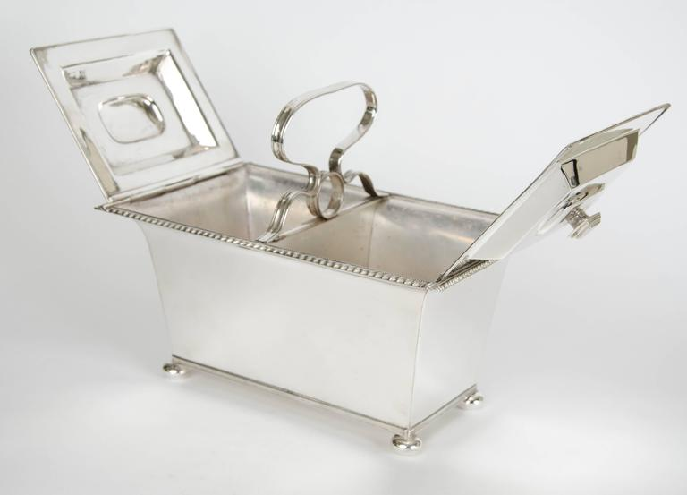 English Silver Plate Double Tea Caddy C.1940