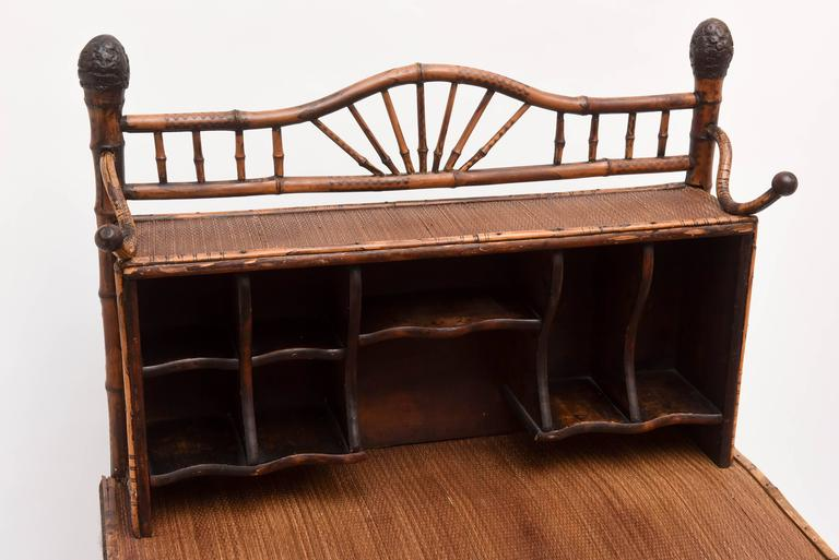 19th Century English Bamboo Desk In Good Condition For Sale In West Palm Beach, FL