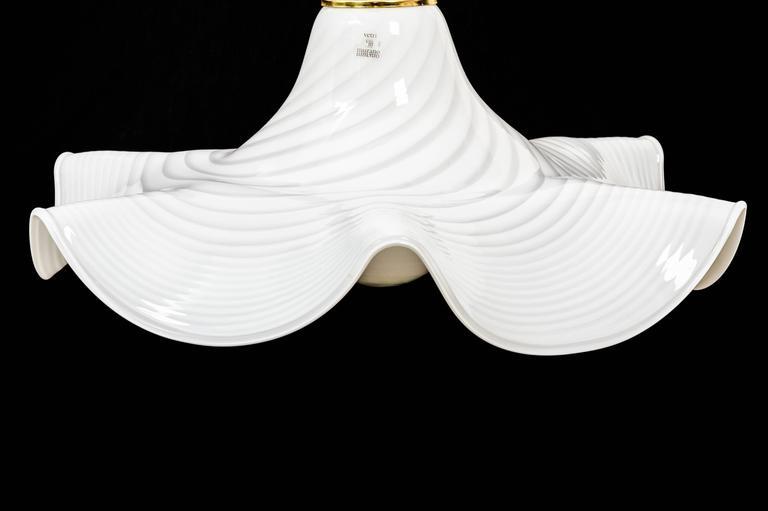 Italian Murano Bell Shape Ruffled Hanging Glass Pendant For Sale
