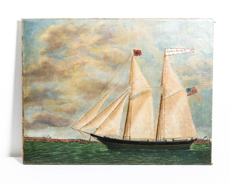 American Schooner Ann S. Brown by William Hare For Sale