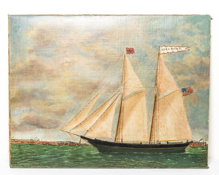 Canvas Schooner Ann S. Brown by William Hare For Sale