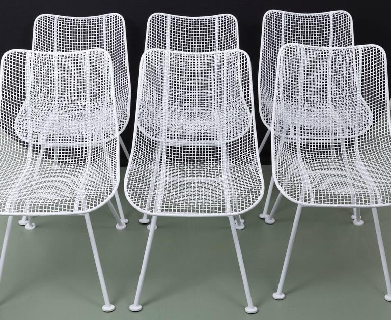 Exceptionnel Set Of Six Woodard Wire Mesh Chairs.