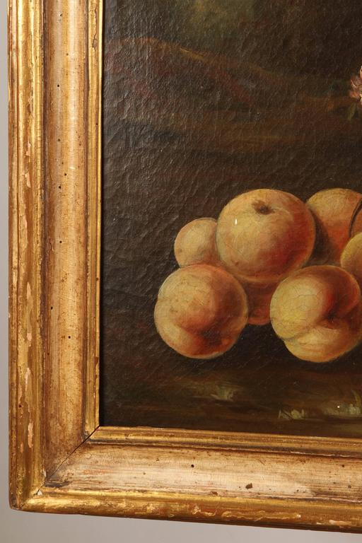 Pair of 19th Century Italian School Still Life Large Oil-On-Canvas Painting with In Good Condition For Sale In South Pasadena, CA