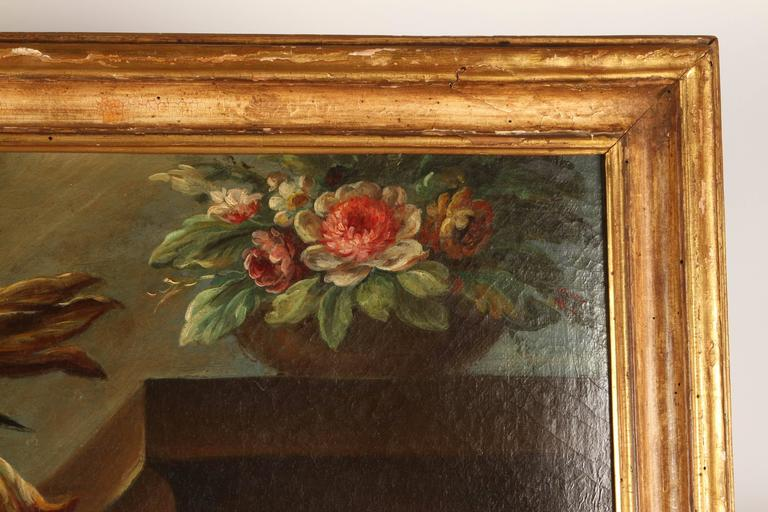 Pair of 19th Century Italian School Still Life Large Oil-On-Canvas Painting with For Sale 1