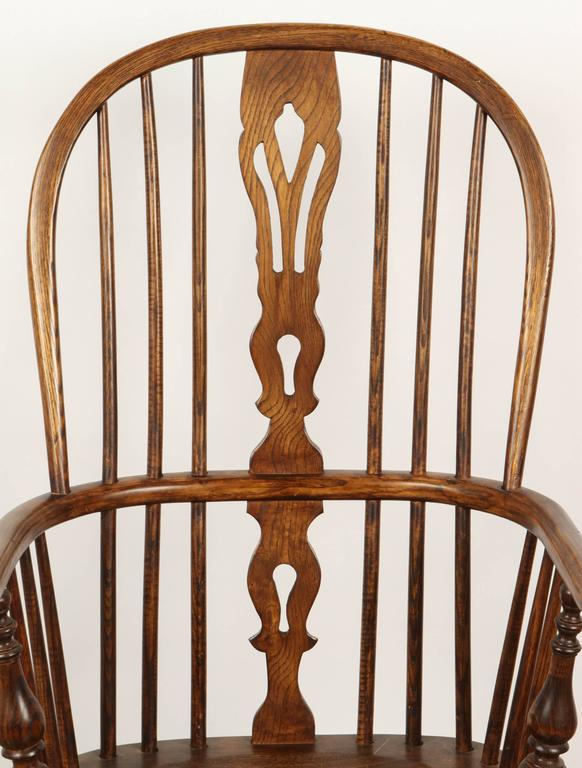 Wood One English Yew High Back Chair For Sale