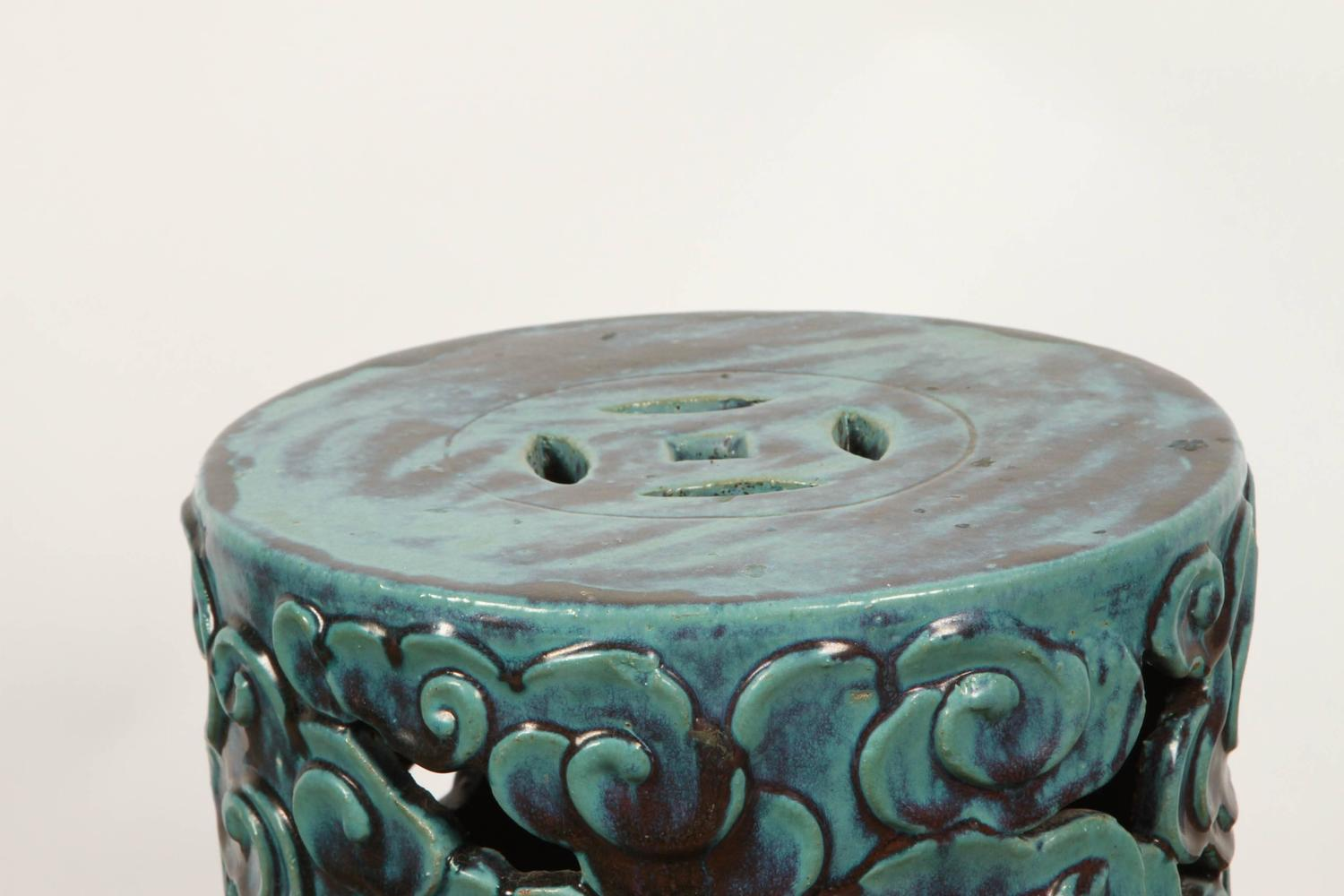 Turquoise Porcelain Garden Stool At 1stdibs