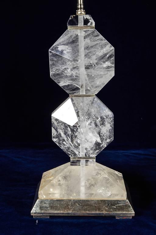 20th Century Pair of French Art Deco Style Carved Rock Crystal and Platinum Lamps For Sale