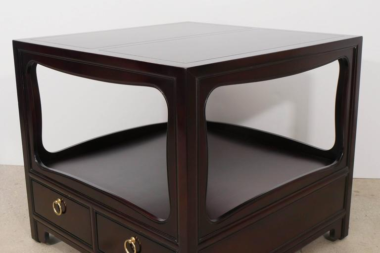 Brass Pair of Mahogany End Tables by Michael Taylor for Baker For Sale