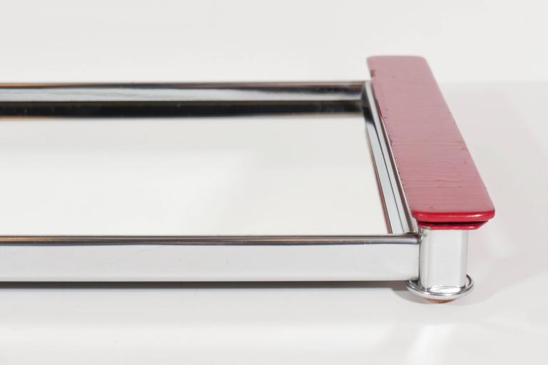 American Art Deco Mirrored Bar Tray with Red Lacquered Handles
